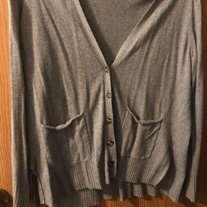 Grey Button Up Cardigan with Pockets